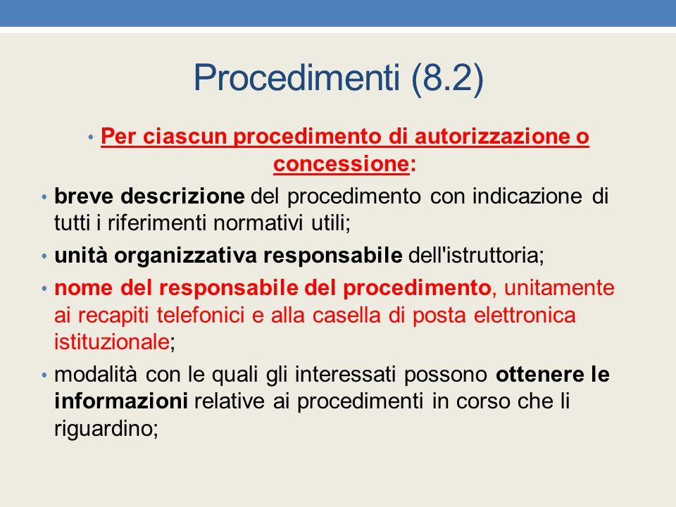 Per ciascun procedimento di autorizzazione o concessione: