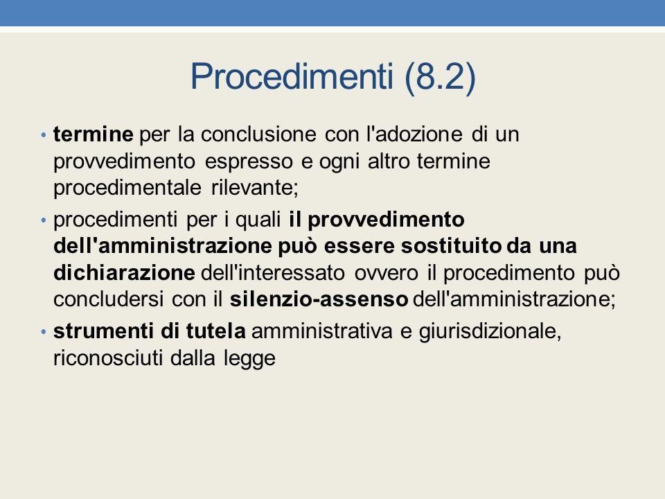 Procedimenti (8.2) termine per la conclusione con l adozione di un provvedimento espresso e ogni altro termine procedimentale rilevante;