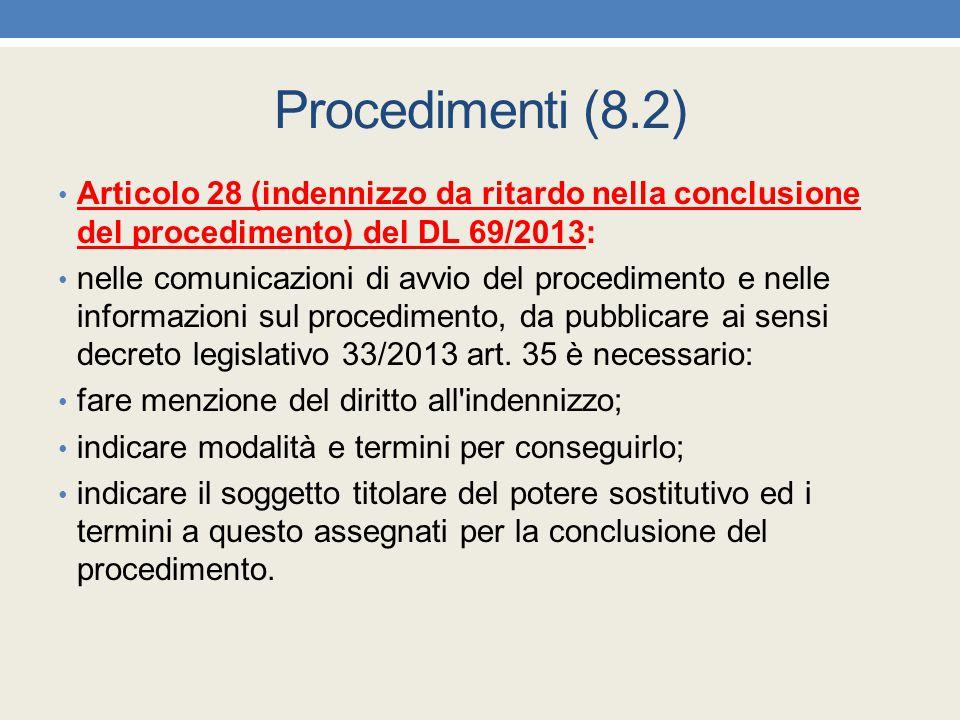 Procedimenti (8.2) Articolo 28 (indennizzo da ritardo nella conclusione del procedimento) del DL 69/2013: