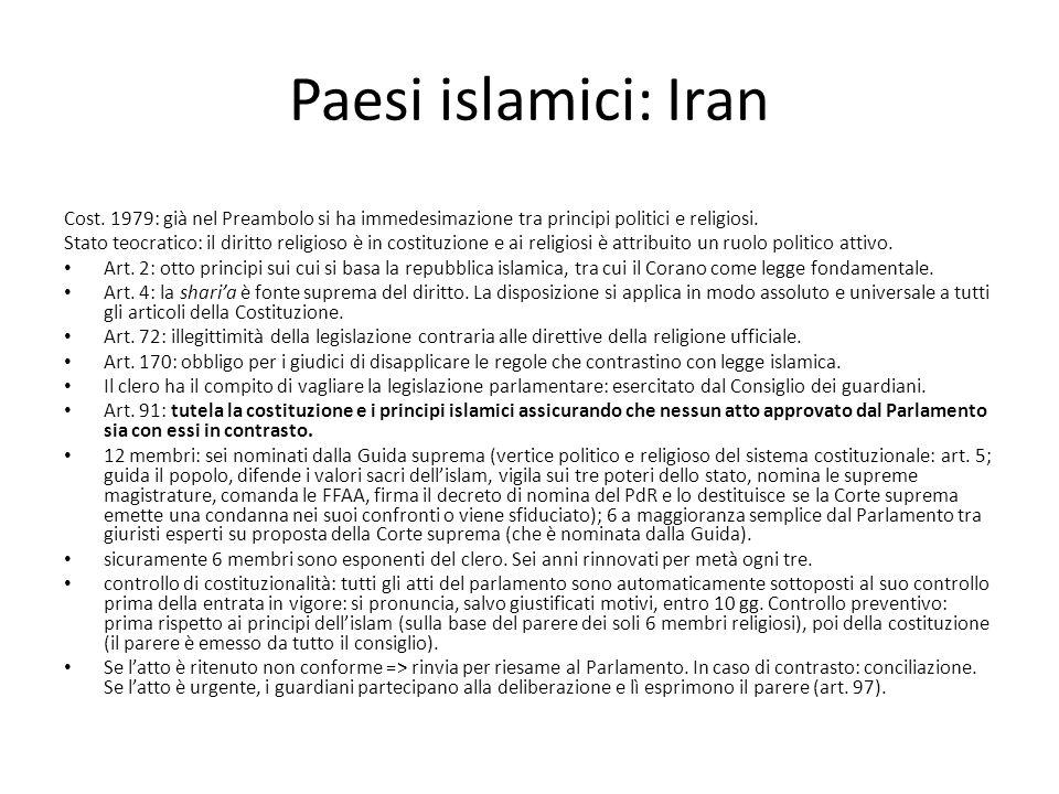 Paesi islamici: Iran Cost. 1979: già nel Preambolo si ha immedesimazione tra principi politici e religiosi.