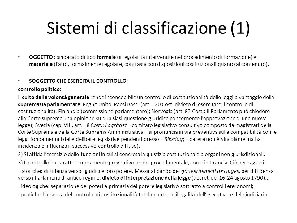 Sistemi di classificazione (1)
