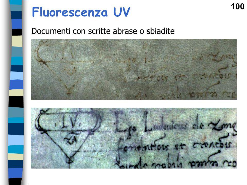 Fluorescenza UV Documenti con scritte abrase o sbiadite