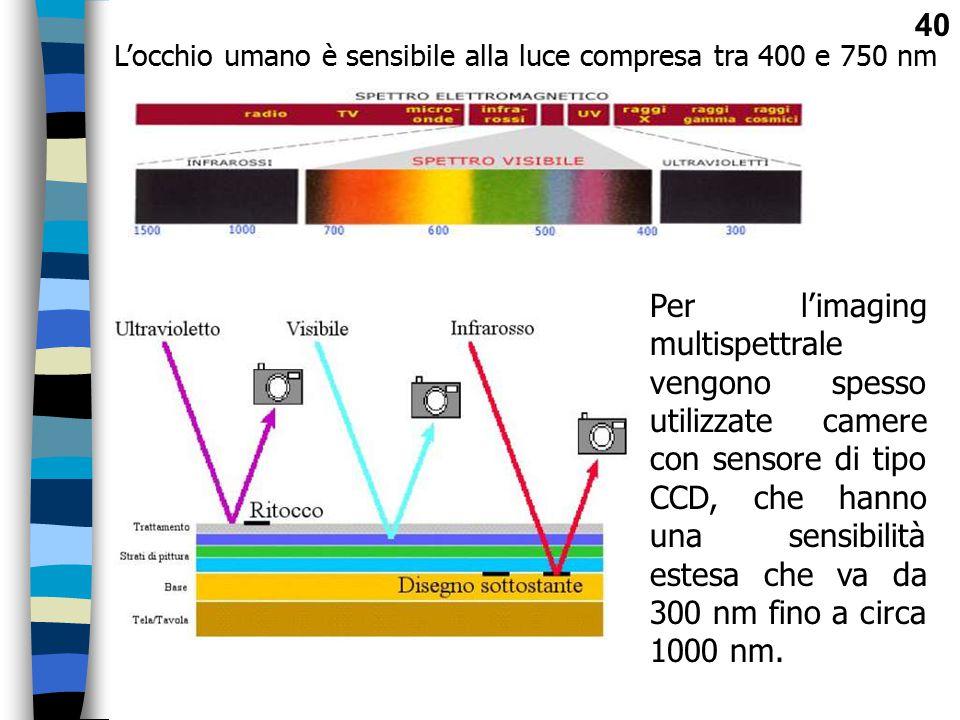 L'occhio umano è sensibile alla luce compresa tra 400 e 750 nm