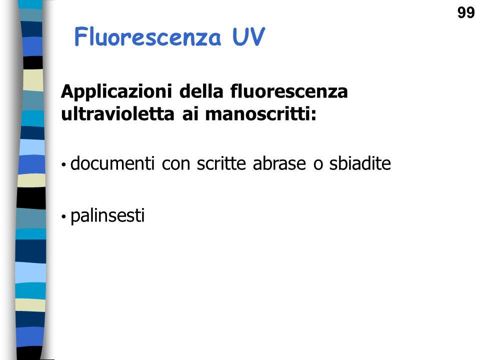 Fluorescenza UV Applicazioni della fluorescenza ultravioletta ai manoscritti: documenti con scritte abrase o sbiadite.