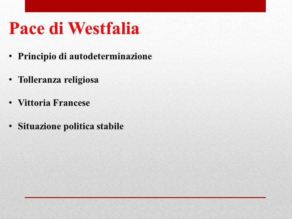 Pace di Westfalia Principio di autodeterminazione Tolleranza religiosa