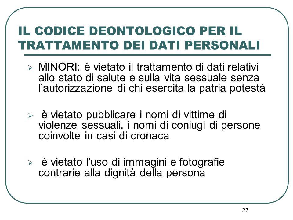 IL CODICE DEONTOLOGICO PER IL TRATTAMENTO DEI DATI PERSONALI