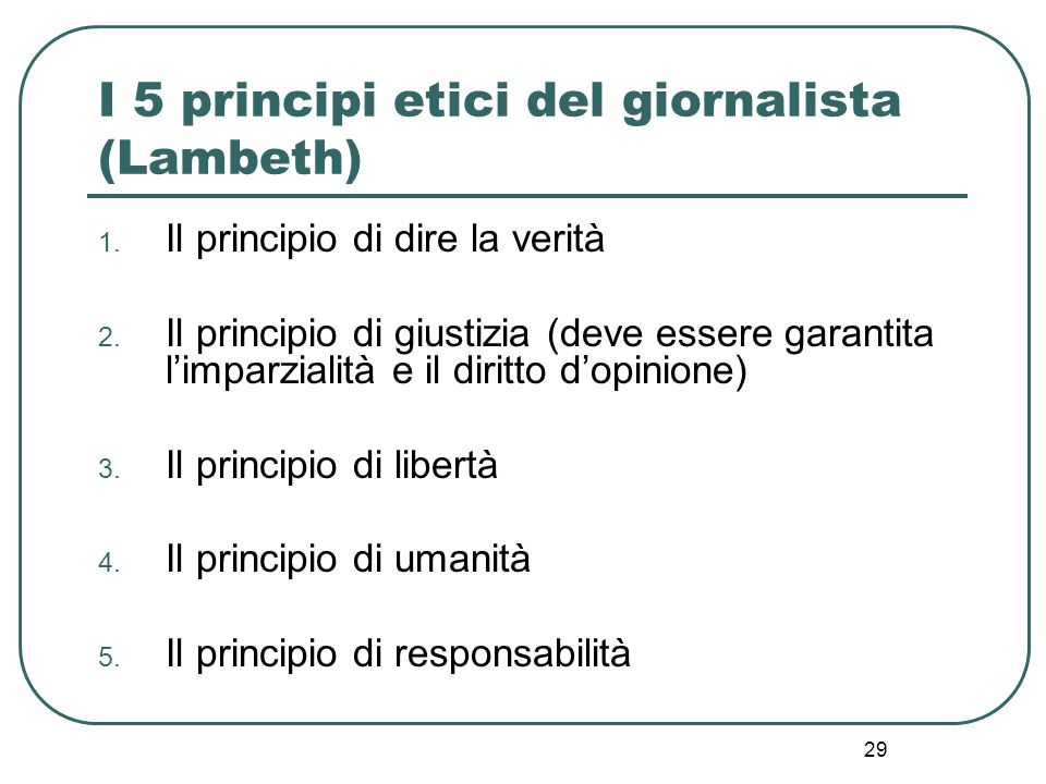 I 5 principi etici del giornalista (Lambeth)