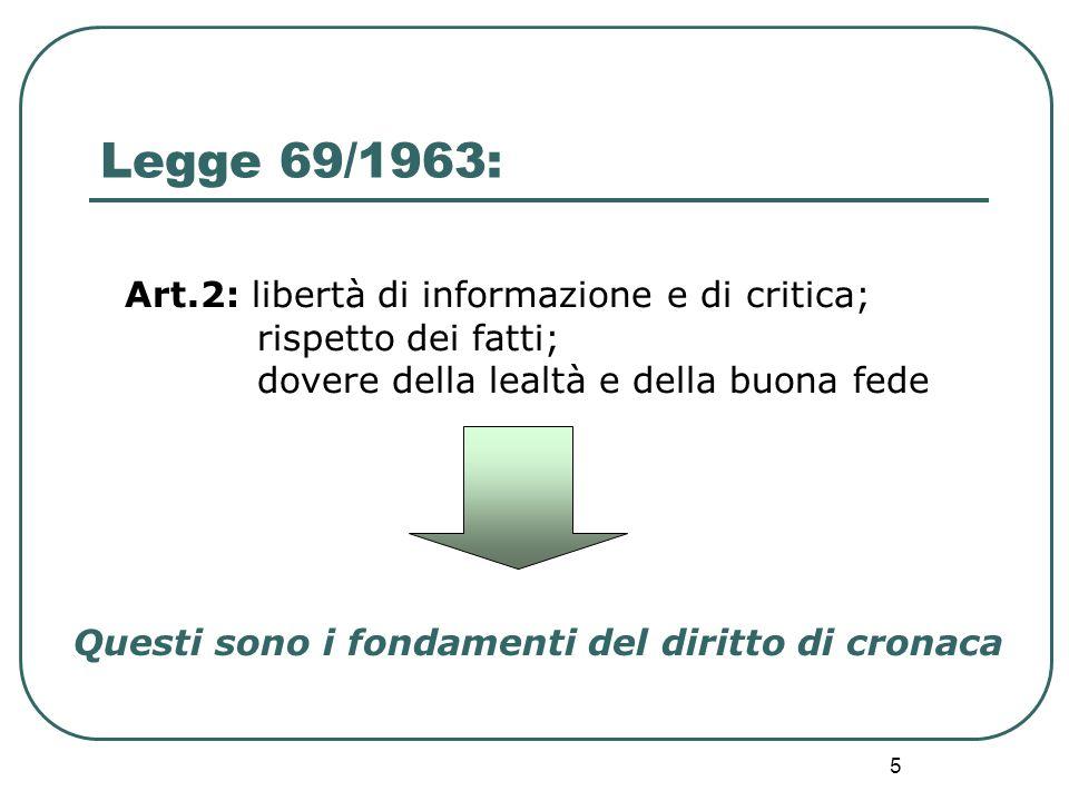 Legge 69/1963: Art.2: libertà di informazione e di critica;