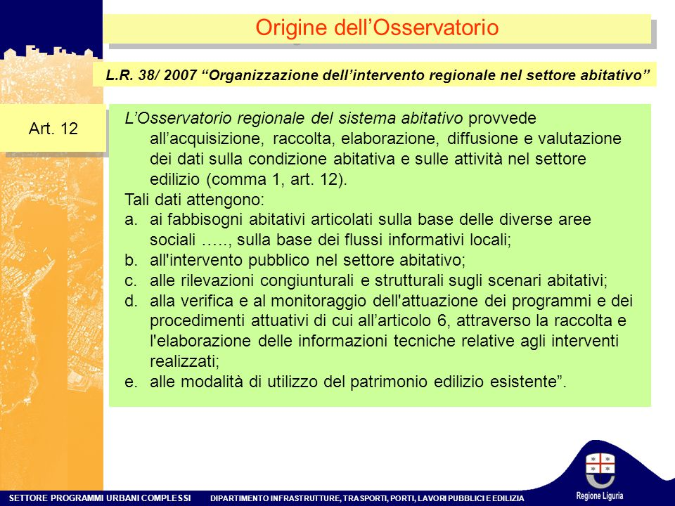 Origine dell'Osservatorio