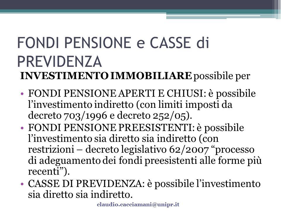 FONDI PENSIONE e CASSE di PREVIDENZA