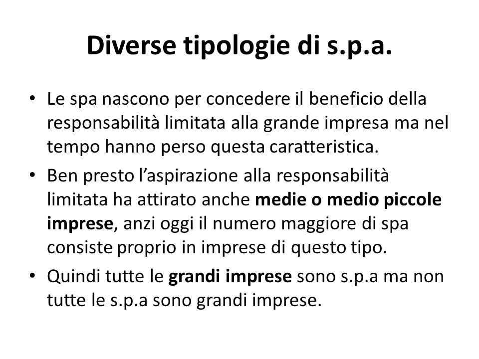 Diverse tipologie di s.p.a.