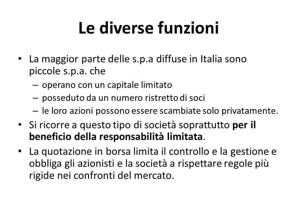 Le diverse funzioni La maggior parte delle s.p.a diffuse in Italia sono piccole s.p.a. che. operano con un capitale limitato.