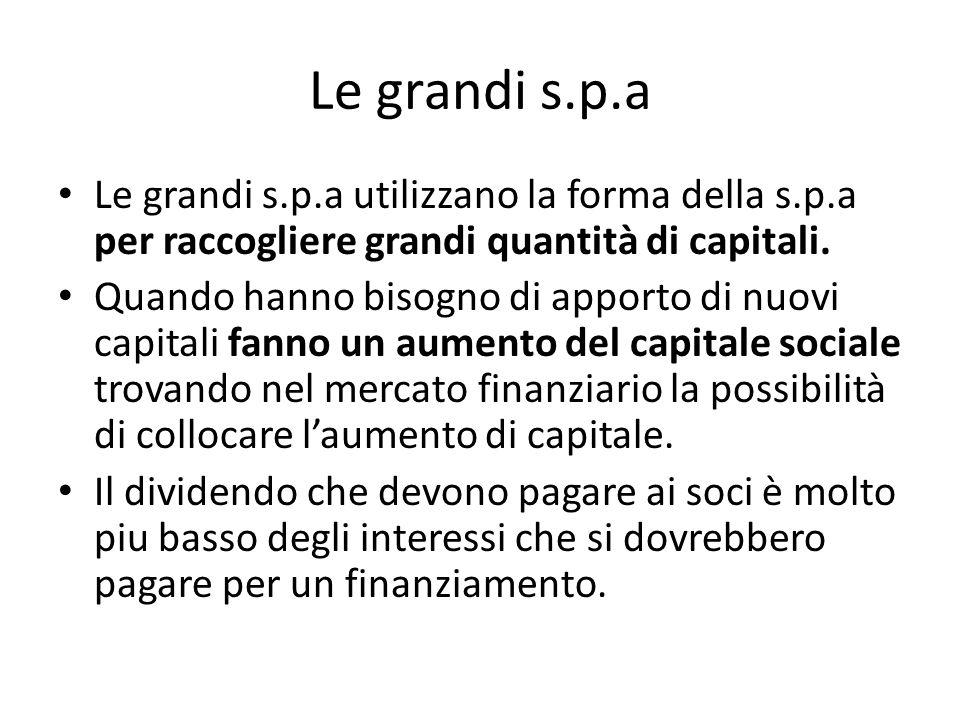 Le grandi s.p.a Le grandi s.p.a utilizzano la forma della s.p.a per raccogliere grandi quantità di capitali.