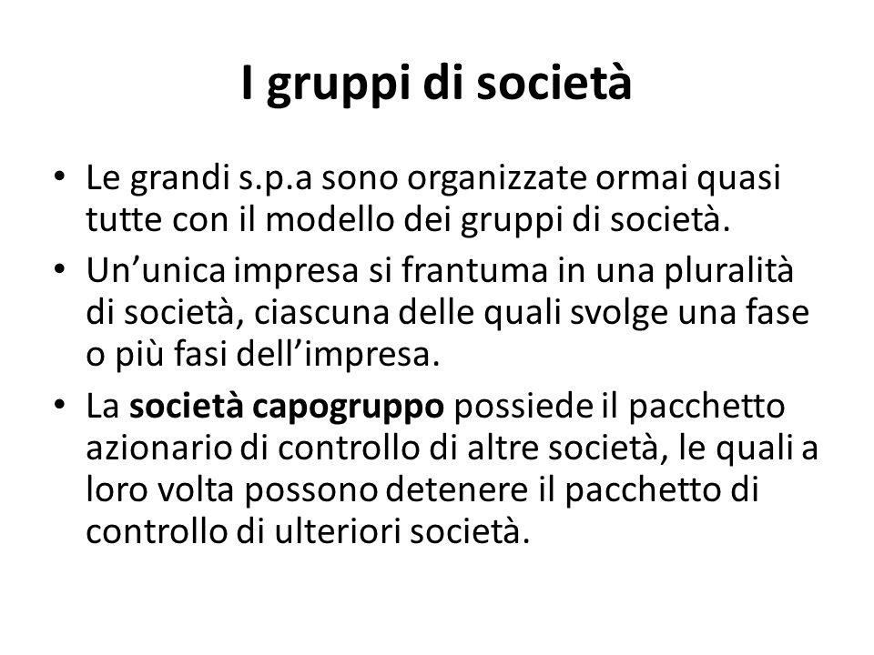 I gruppi di società Le grandi s.p.a sono organizzate ormai quasi tutte con il modello dei gruppi di società.