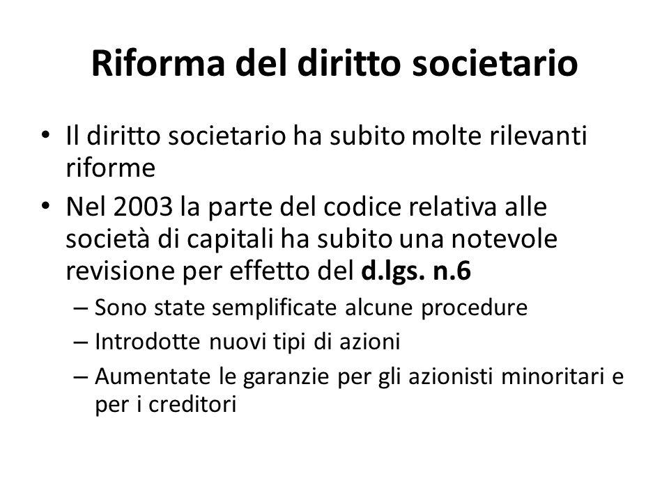 Riforma del diritto societario