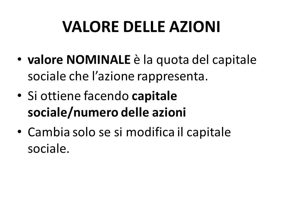 VALORE DELLE AZIONI valore nominale è la quota del capitale sociale che l'azione rappresenta.