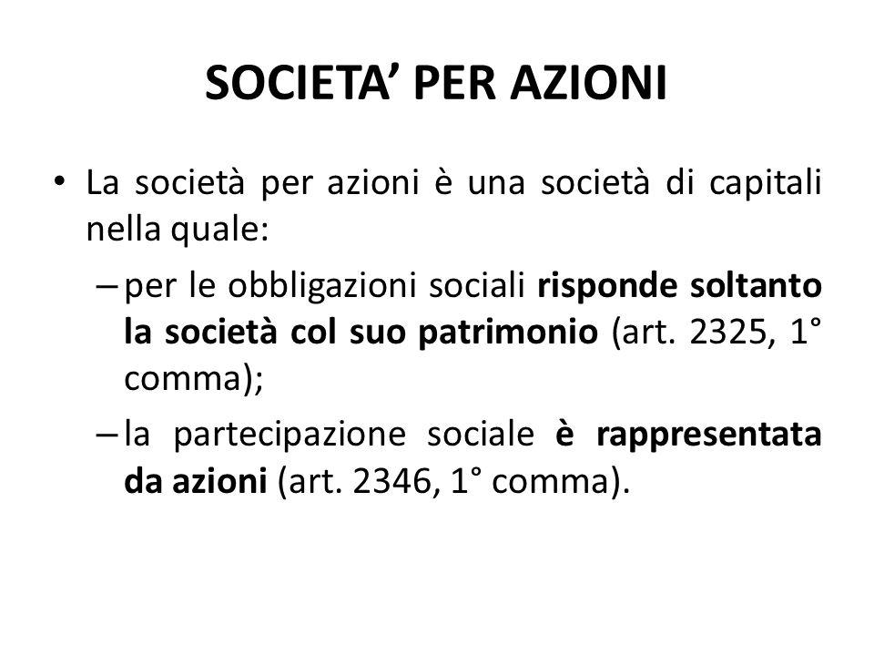 SOCIETA' PER AZIONI La società per azioni è una società di capitali nella quale: