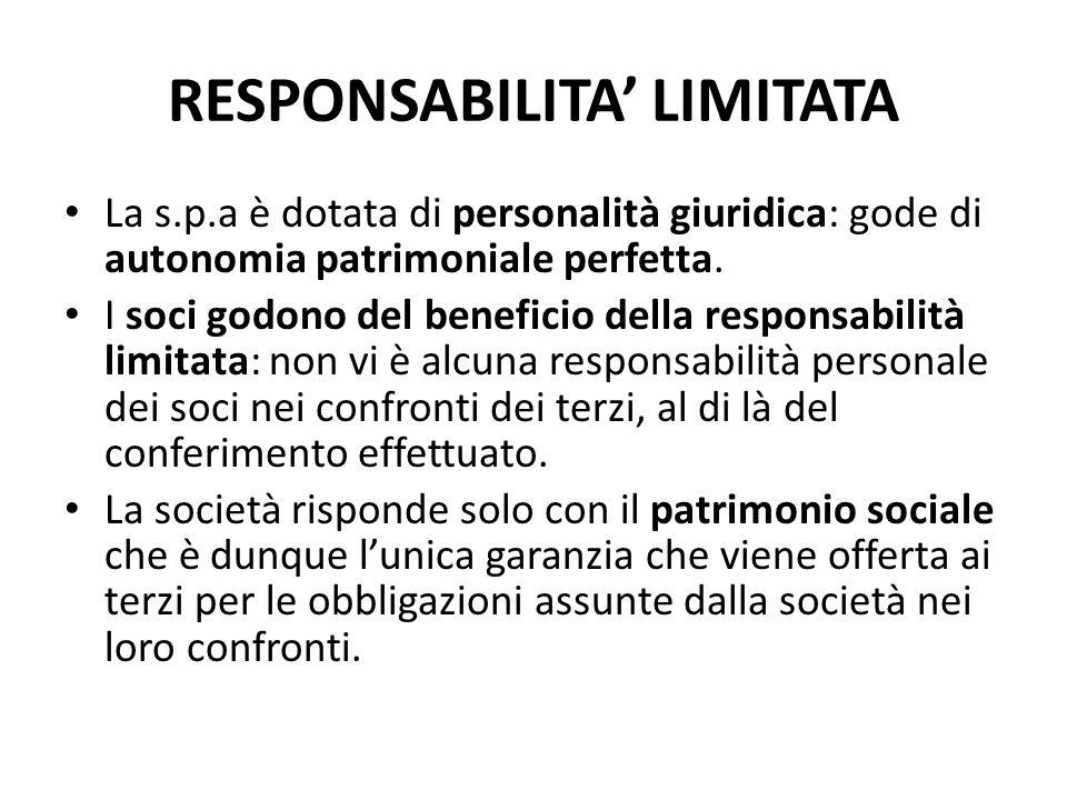 RESPONSABILITA' LIMITATA