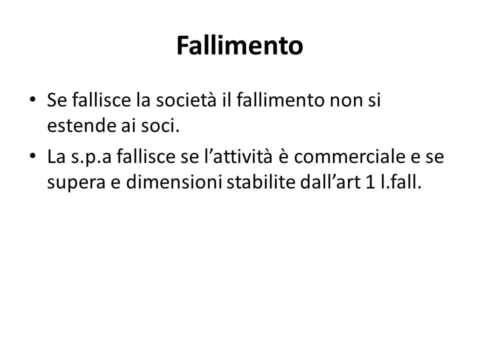 Fallimento Se fallisce la società il fallimento non si estende ai soci.