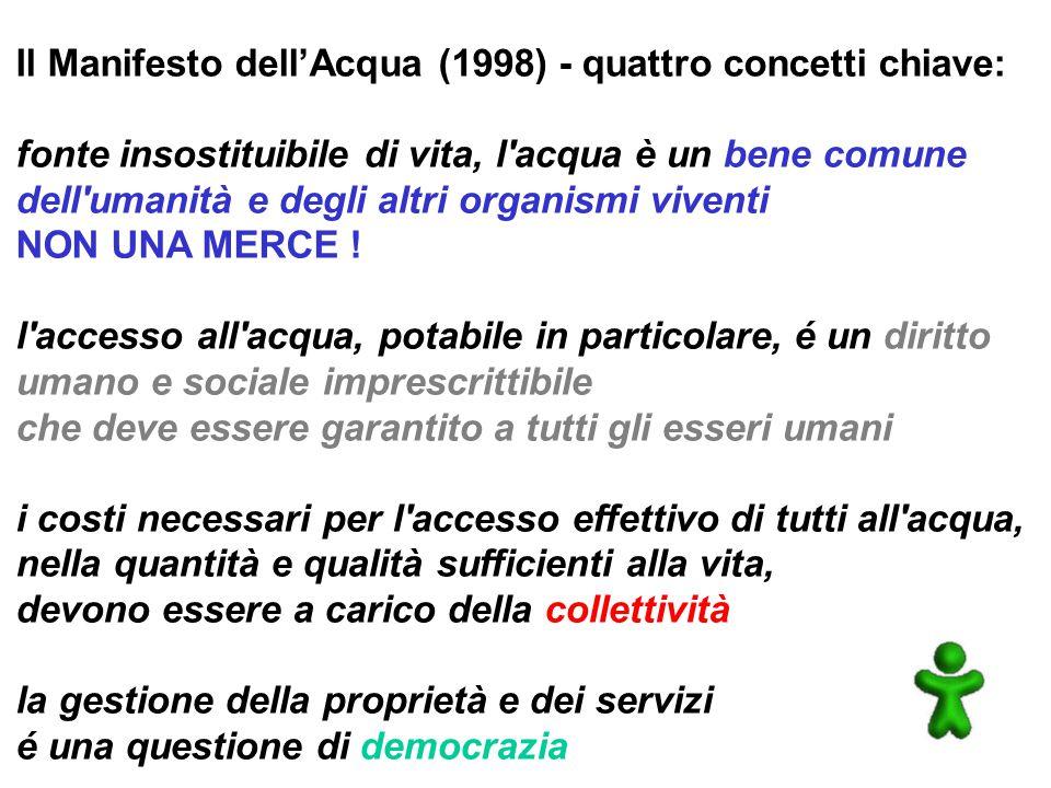 Il Manifesto dell'Acqua (1998) - quattro concetti chiave: