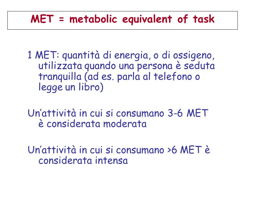 MET = metabolic equivalent of task