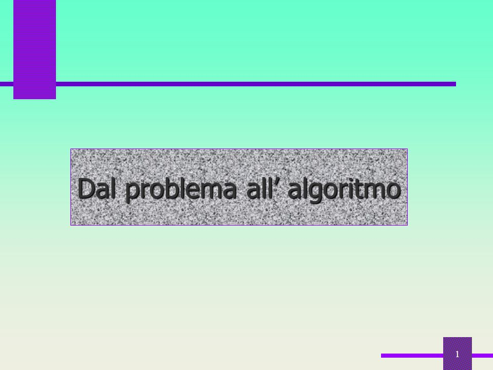 Dal problema all' algoritmo
