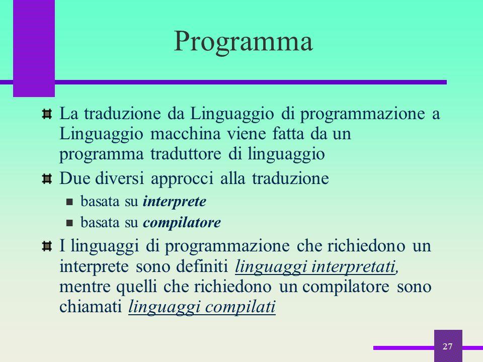 Programma La traduzione da Linguaggio di programmazione a Linguaggio macchina viene fatta da un programma traduttore di linguaggio.