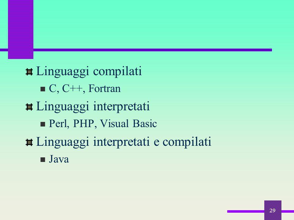 Linguaggi interpretati Linguaggi interpretati e compilati