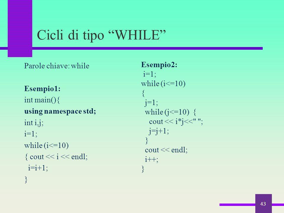 Cicli di tipo WHILE Esempio2:
