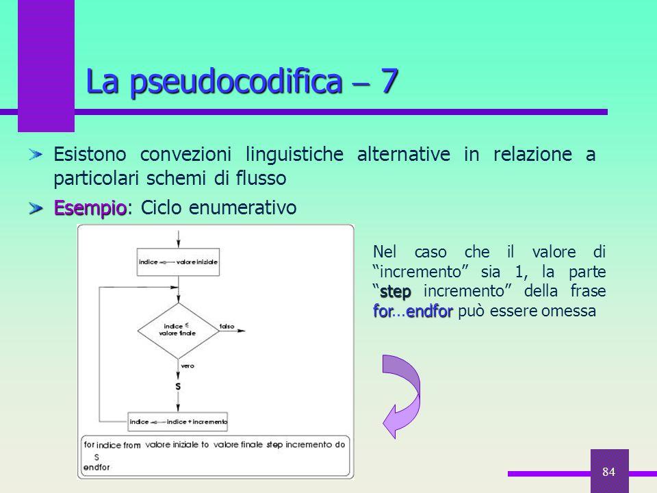 La pseudocodifica  7 Esistono convezioni linguistiche alternative in relazione a particolari schemi di flusso.