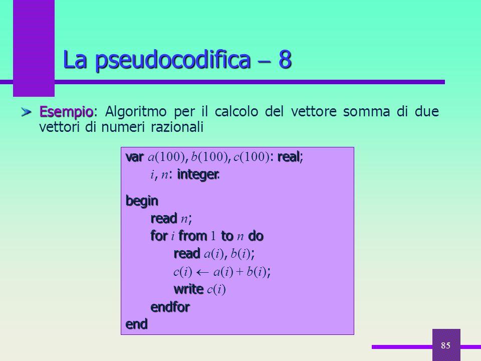 La pseudocodifica  8 Esempio: Algoritmo per il calcolo del vettore somma di due vettori di numeri razionali.