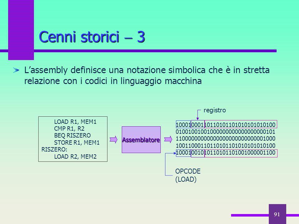 Cenni storici  3 L'assembly definisce una notazione simbolica che è in stretta relazione con i codici in linguaggio macchina.