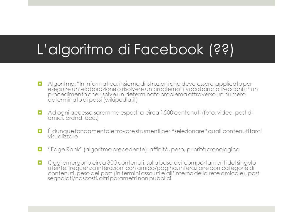 L'algoritmo di Facebook ( )