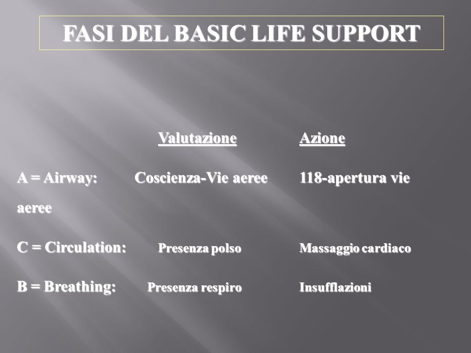 FASI DEL BASIC LIFE SUPPORT