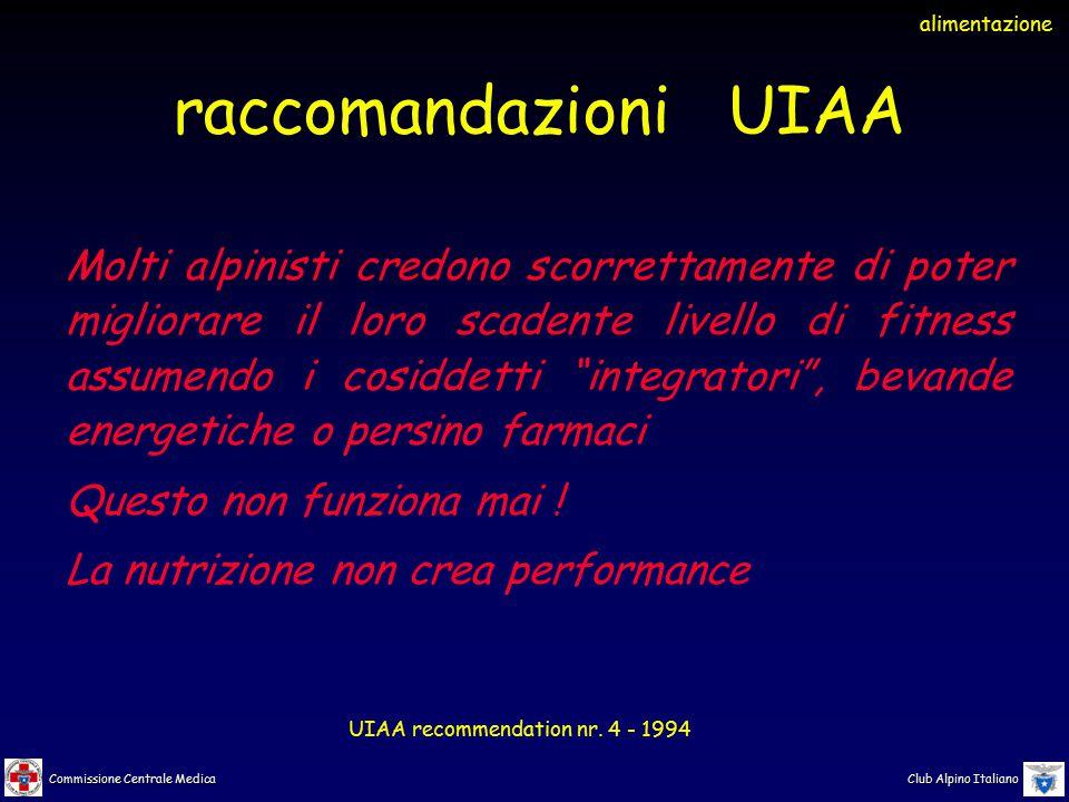 alimentazione raccomandazioni UIAA.