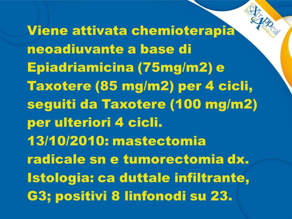 Viene attivata chemioterapia neoadiuvante a base di Epiadriamicina (75mg/m2) e Taxotere (85 mg/m2) per 4 cicli, seguiti da Taxotere (100 mg/m2) per ulteriori 4 cicli.