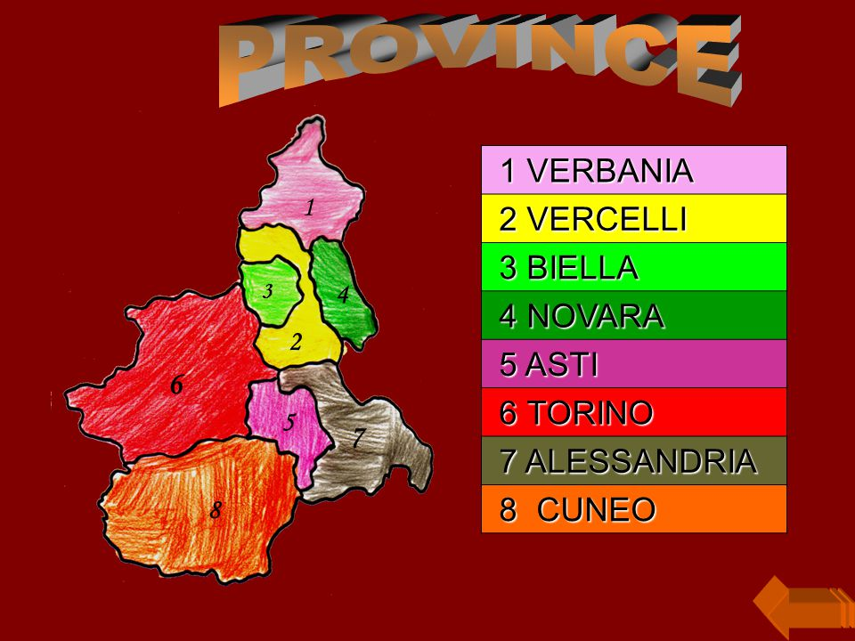 PROVINCE 1 VERBANIA 2 VERCELLI 3 BIELLA 4 NOVARA 5 ASTI 6 TORINO