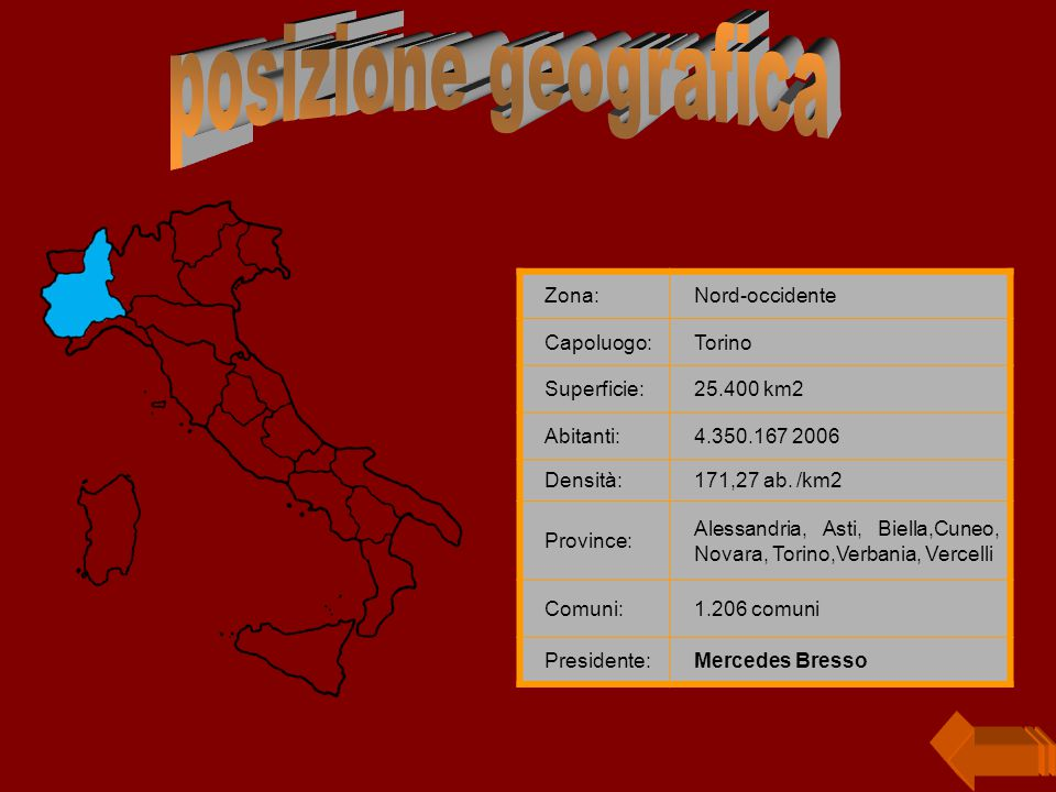 posizione geografica Zona: Nord-occidente Capoluogo: Torino