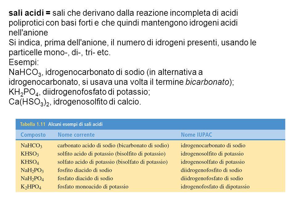 sali acidi = sali che derivano dalla reazione incompleta di acidi poliprotici con basi forti e che quindi mantengono idrogeni acidi nell anione