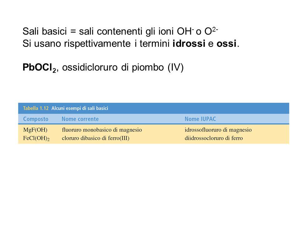 Sali basici = sali contenenti gli ioni OH- o O2- Si usano rispettivamente i termini idrossi e ossi.
