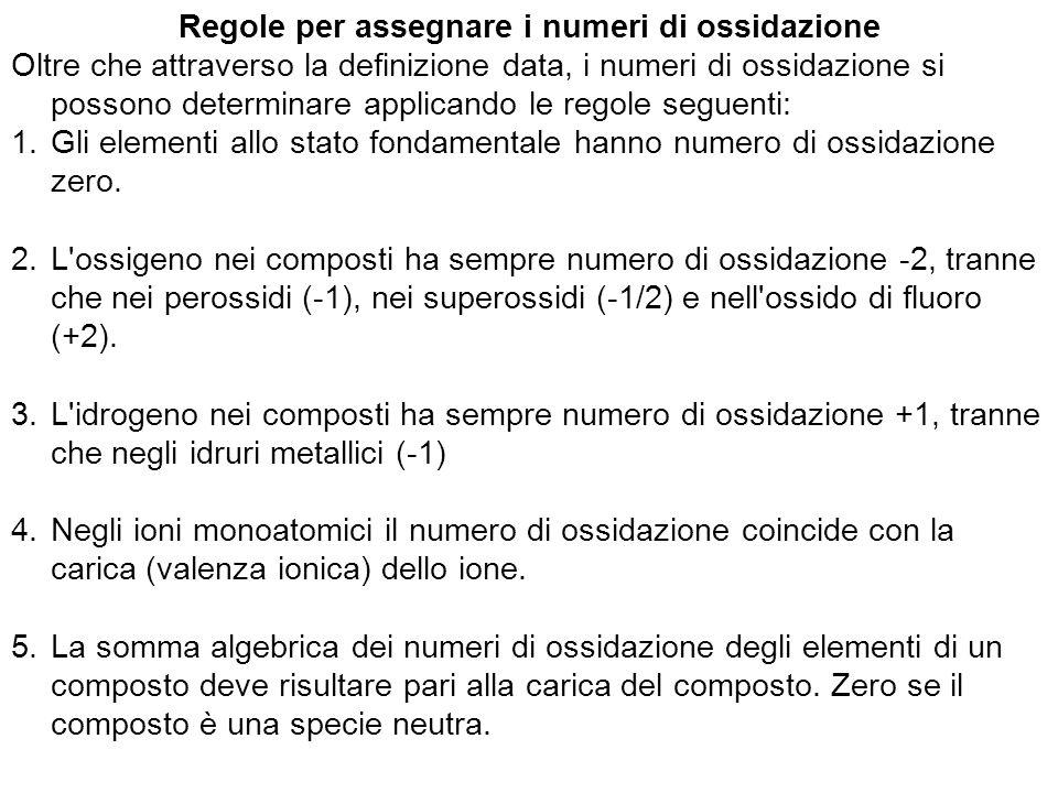 Regole per assegnare i numeri di ossidazione