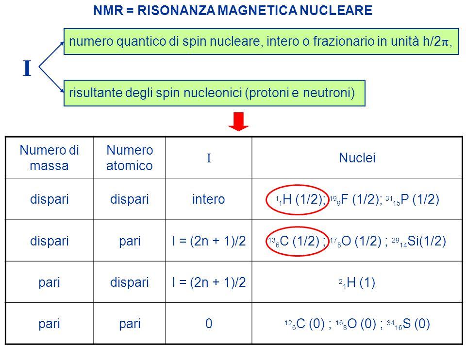 I NMR = RISONANZA MAGNETICA NUCLEARE