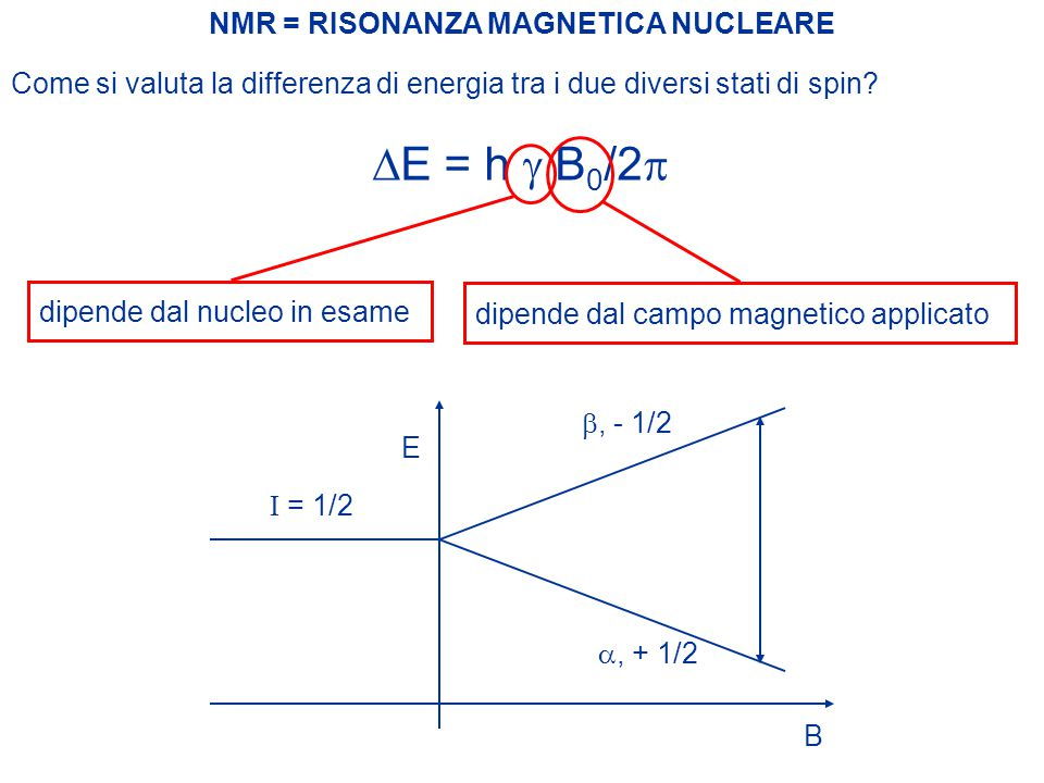 DE = h g B0/2p NMR = RISONANZA MAGNETICA NUCLEARE