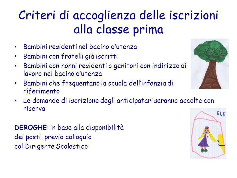 Criteri di accoglienza delle iscrizioni alla classe prima