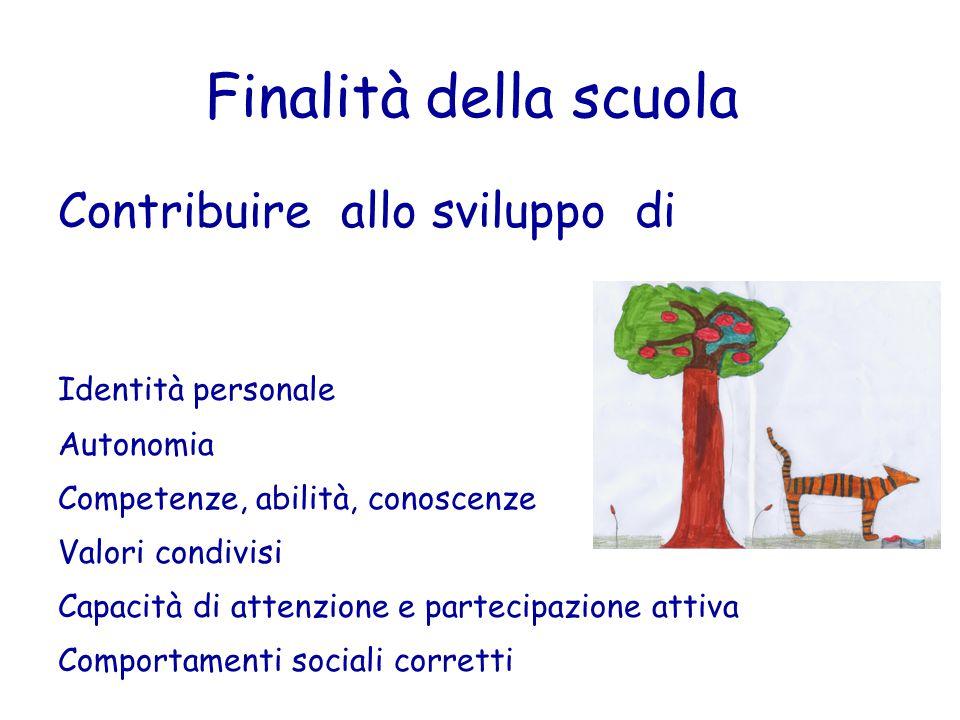 Finalità della scuola Contribuire allo sviluppo di Identità personale