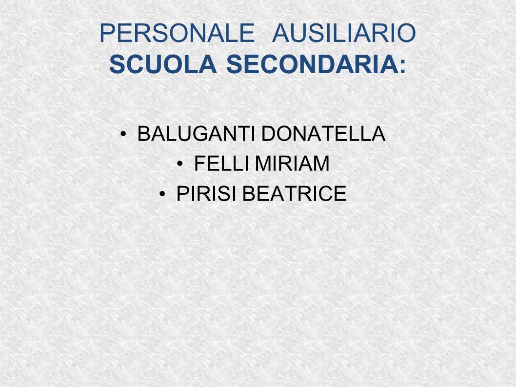 PERSONALE AUSILIARIO SCUOLA SECONDARIA: