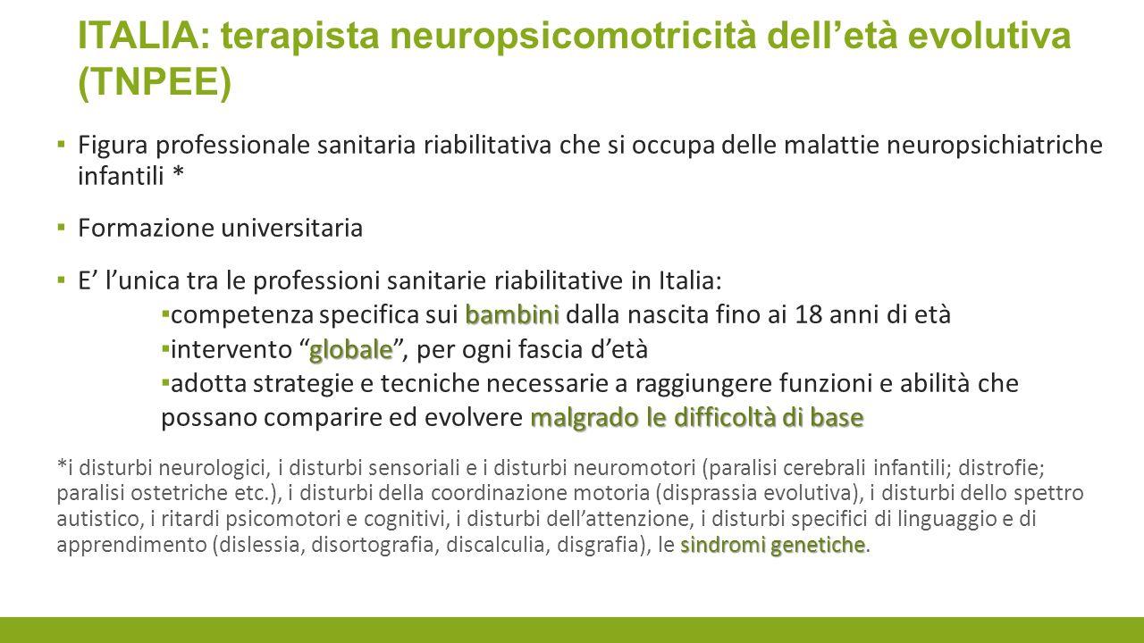 ITALIA: terapista neuropsicomotricità dell'età evolutiva (TNPEE)