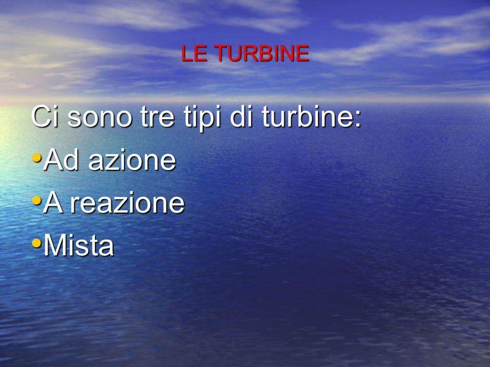 Ci sono tre tipi di turbine: Ad azione A reazione Mista
