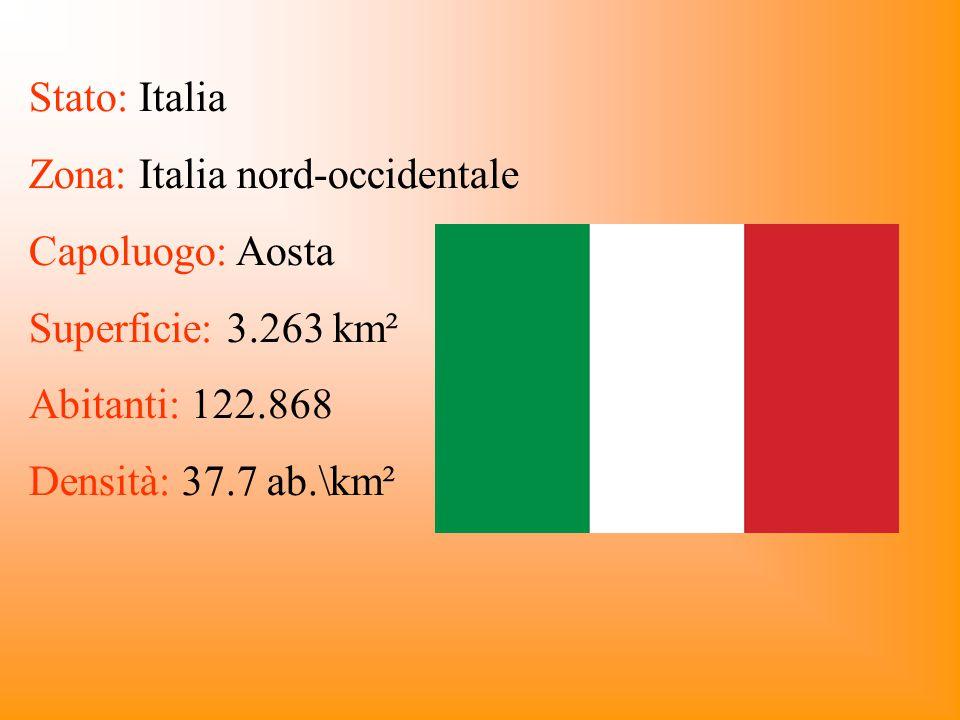Stato: Italia Zona: Italia nord-occidentale. Capoluogo: Aosta. Superficie: 3.263 km². Abitanti: 122.868.