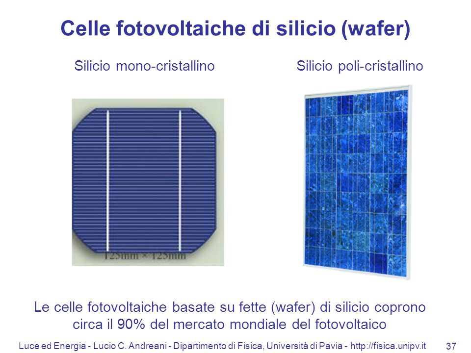 Celle fotovoltaiche di silicio (wafer)